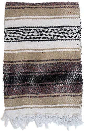 DistinctLook Mexikanische Falsa-Decke/Überwurf/Teppich, 6 Farben, handgefertigt, recyceltes Garn, Yoga, Meditation, Camping, Picknick, Festival, Beige mit farbigen Punkten