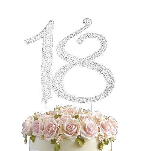 Strass Geburtstag Jahrestag Kuchen-Deckel Nummer 18. Diamante Edelstein -Dekoration Pick - 18 (Geburtstag-kuchen-deckel 18)
