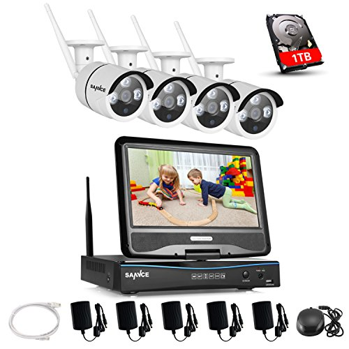 SANNCE 4CH 720P Funk HD WLAN Überwachungsset Kamera IP Kamera Videoüberwachung NVR Recorder Nachtsicht Fernzugriff Kabellose Wireless für innen und außen Bereich 1TB Überwachung Festplatte wetterfest