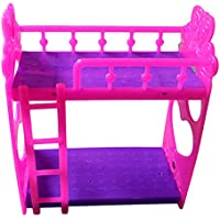ZHOUBA Beautiful Plastic Bunk Bed Bedroom Furniture Bed Set for Barbie Dolls Dollhouse