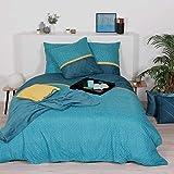 Côté Déco Parure de lit avec Housse de Couette en Microfibre Bleu Canard 240x220 cm
