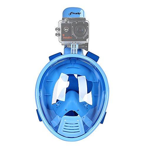 FFiturbo S3 Schnorchelmaske Schnorchelset Tauchermaske mit Gopro Mount Neuer Typ Vollgesichtsmaske Weiter Sichtfeld für Kinder Blau XS