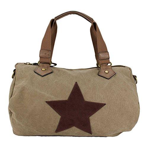 STARBAG XL Handtasche Stern Canvas 40x30 (BxH) Khaki