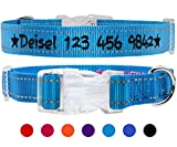 TagME Personalisierte Bestickte Reflektierend Hundehalsbänder/Benutzerdefinierte mit Name und Telefonnummer Bestickt / 4 Größe & Blau/Für kleine und mittlere und große Hunde