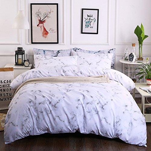 CHEN Simple Bettbezug-Set König Größe Mit Kissenbezügen Quilt-Bettwäsche-Set Reversibel Gedruckt Poly-Baumwolle,Diamant Marmor Tagesdecken 3 teilige, White (König Baumwolle Bettwäsche)