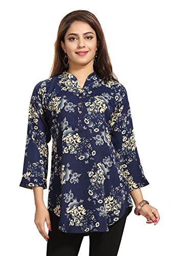 Color Petal Floral Design Blue colour Printed Short Crepe Kurti/Tunic/Top for women...