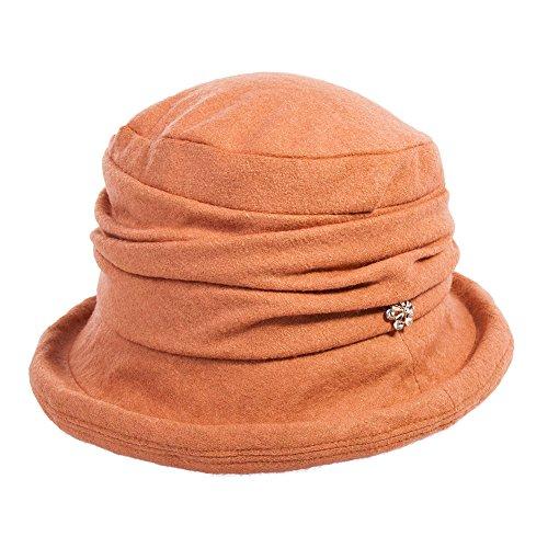 (SIGGI orange Wolle 1920s Retro Glockehut Fischerhut für Damen Fedorahüte Klassisch klappbar Bowler Hut Winter)