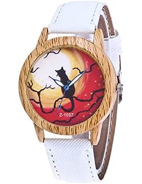 Souarts Damen Armbanduhr Halloween Stil Analoge Quary Uhr mit Batterie Holz Maserung Katze Muster Weiß
