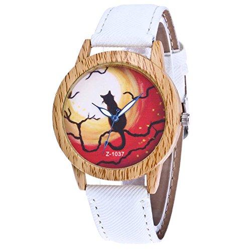 duhr Halloween Stil Analoge Quary Uhr mit Batterie Holz Maserung Katze Muster Weiß (Halloween-uhr)