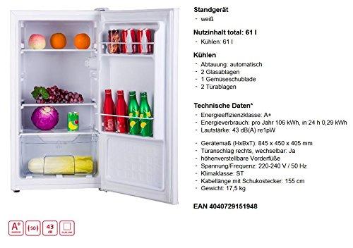 Amica VKS 15194 W Tischkühlschrank Vollraum 62l A+ 106kWh/Jahr Standkühlschrank