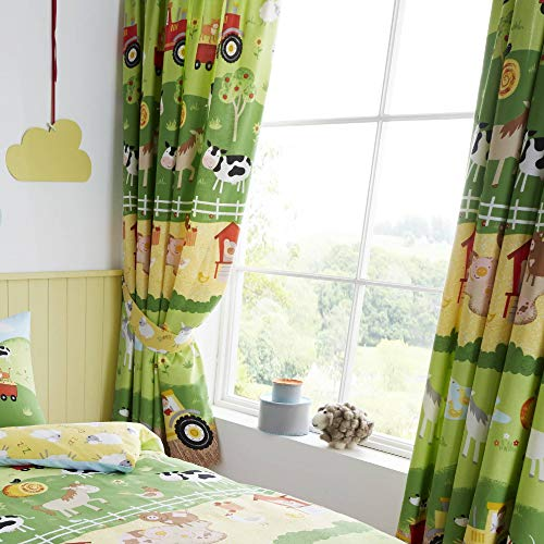 Happy linen company tende a pieghe - tema animali della fattoria - verde/giallo - 168 x 189 cm