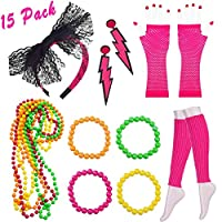 80s Jewellery for Women , 10 Pack Plastic Neon Necklaces Neon Bracelets Long Fishnet Gloves Set for 1980 s Fancy Dress for Women 80s Party Accessories