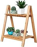 AOLI Portavaso per fiori doppio strato Supporto per fiori in legno-Pianta Porta-scala Supporto per scaffali Espositore - Uso interno ed esterno Supporto per piante 50 * 35 * 60 cm