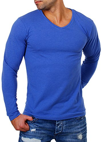 Young & Rich Herren Longsleeve tiefer V-Ausschnitt langarm Shirt einfarbig slimfit mit Stretchanteilen Uni Basic deep V-Neck Tee, Grösse:L;Farbe:Blau-Melange (Langarm Stretch Tee Baumwolle)