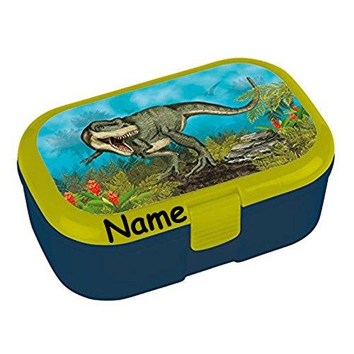 Lunchbox * Dinosaurier Plus Wunschname * für Kinder von Lutz Mauder | Brotdose mit Namensdruck | Perfekt für Jungen | Vesperdose Brotzeitbox Brotzeit Schule Kindergarten Dino T-Rex (mit Namen)
