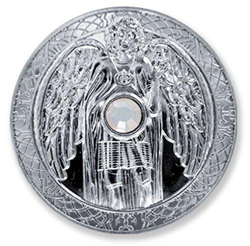 Moneda talismán Angel arcángel Gabriel Mundo mágico plateado con cr