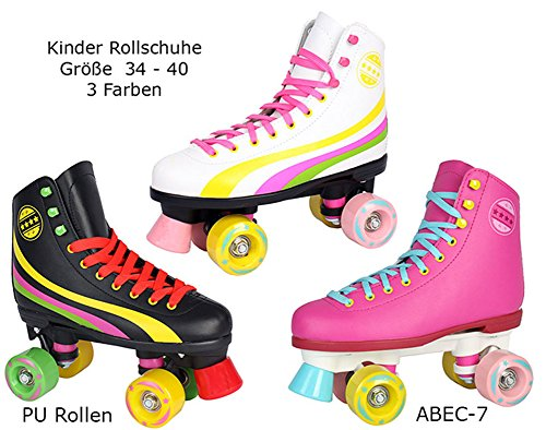 Sell-tex Rollschuhe für Kinder Rollerskates NEU Gr. 34 35 36 37 38 39 40 Pink weiß schwarz (38, Pink)