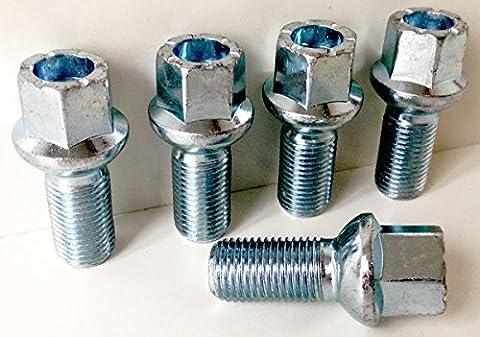 Lot de 5boulons de roue en alliage de filetage M14x 1,5Longueur 27mm, rayon Siège, 17mm Hex Convient pour VW Volkswagen