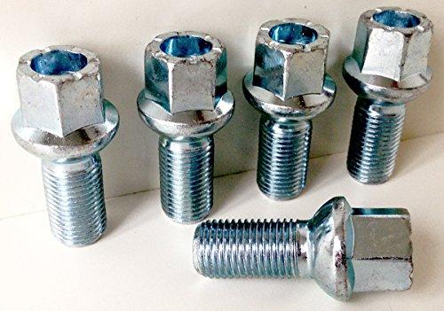 Alliage de Lot de 5 boulons de roue M14 x 1,5 Filetage 27 mm de long, Radius Seat, 17 mm hexagonale Convient pour Audi