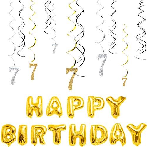 magjuche 7. Geburtstag Dekorationen kit-gold Silber Glitzer Happy 7Jahre alt Geburtstag Banner & Sparkling Celebration Aufhängen wirbelt, Party Supplies