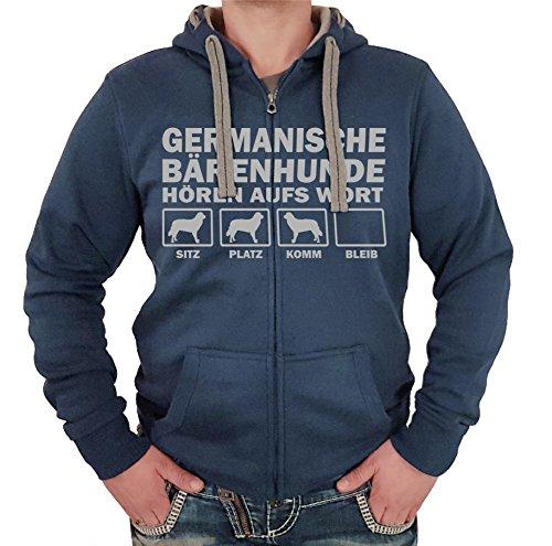 GERMANISCHER BÄRENHUND - JACKE HÖREN AUFS WORT Motiv Siviwonder Unisex HUND Kapuzen Zip Pullover Sweatjacke Hunde denimblau XXL