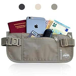 Globeproof® Reise-Bauchtasche flach mit RFID-Blocker - Unauffälliger Geldgürtel (grau)