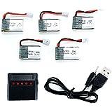 FLOVEME 250mAh 3.7V Lipo Akku Lipo Batterie RC Modellbau Akku mit Ladegerät Stecker 5 Stück für Syma X4/X1, Walkera mini cp/QR ladybird, UDIU816A/U830,WltozysV252, HubsanH107L,HuanQi886/887