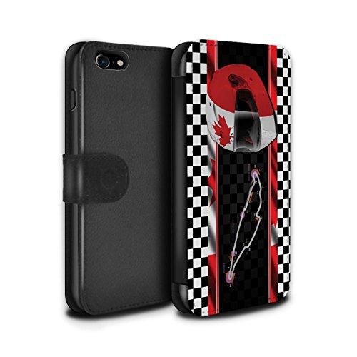 Stuff4 Coque/Etui/Housse Cuir PU Case/Cover pour Apple iPhone 7 / Espagne/Catalogne Design / F1 Piste Drapeau Collection Canada/Montréal