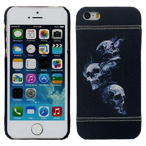 iPhone SE Coque Mince et Léger, Dur Plastique 3D Grain Peinture Motif Style ( Chat noir ) Beau Housse de Protection Case pour Apple iPhone 5 5S SE noir-1