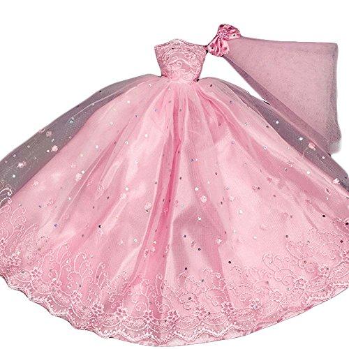 Rosa Gaze-Kleid-Puppe-Kleidung-Puppe-Kleid-handgemachtes Hochzeits-Kleid für Puppen (Rosa Gaze)