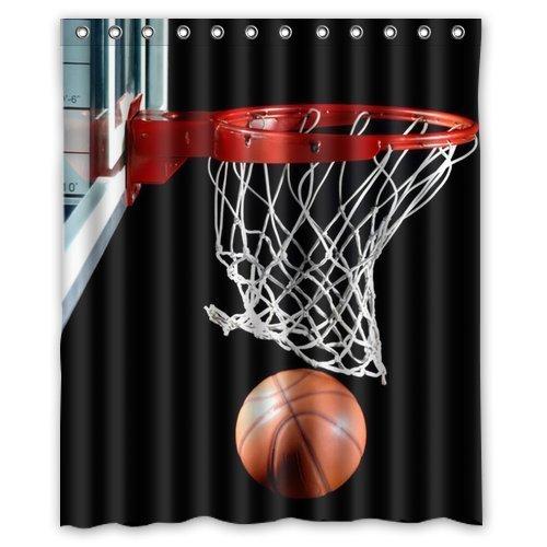 Presock Duschvorhänge, Basketball Hoop Background Waterproof Shower Curtain/Bath Curtain 60 X 72 Inch Shower Curtains Hooks Included