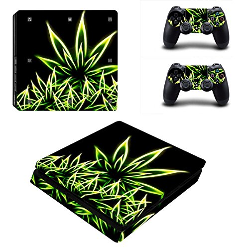 Morbuy Ps4 Slim Skin Consola Design Foils Vinyl Pegatina Sticker And 2 Playstation 4 Slim Dualshock Controlador Skins Set (Bling Leaves)