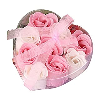TOOGOO(R) 9Pcs Scented Rose Flower Petal Bath Body Soap Wedding Party Gift(Pink+White)