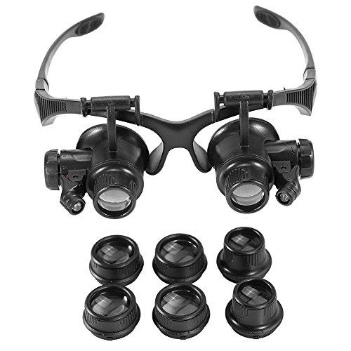 Lupenbrille Kopfbandlupe 10X, 15X, 20X, 25X Facher Vergrößerung, Verstellbarem LED Licht Lupe,...