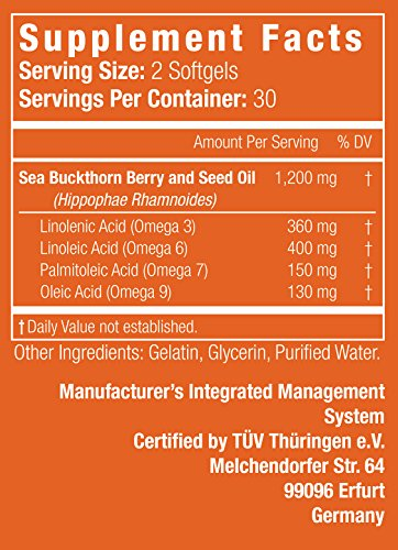 COMPLETE OMEGA 3-6-7-9 * Highest Quality, Pure Sea Buckthorn Oil From Unrefined, Cold Pressed Whole Sea Buckthorn Wild Berries – Non-GMO, Certified Kosher, cGMP (1,200mg) – 60 Capsules