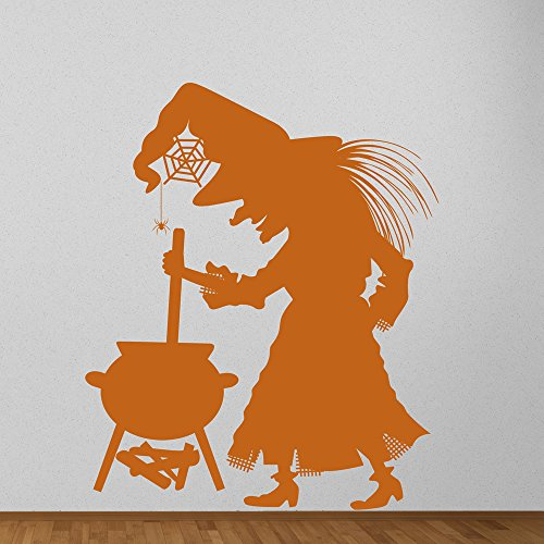 Hexenkessel Wandaufkleber Halloween Wandtattoo Scary Kinder Wohnkultur verfügbar in 5 Größen und 25 Farben X-Groß Blatt - Halloween Blätter Scary Farbe
