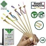 Oriculi en Bambou DELUXE X6 - Cure Oreille Ecologique Reutilisable à vie pour remplacer le Coton Tige Garantie à VIE - Nettoyeur d'oreilles Japonais Economique et Zero Dechet