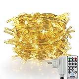 Noël Guirlande lumineuse LED, 500 Blanches Chaudes LEDs sur Câble Transparent, avec Minuterie et Gradateur, 8 Modes pour Noël, Sapin, Maison, Fêtes, Mariages, Anniversaire, Nouvel An