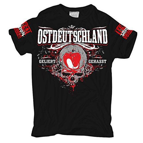 Männer und Herren T-Shirt Ostdeutschland Geliebt - Gehasst Schwarz