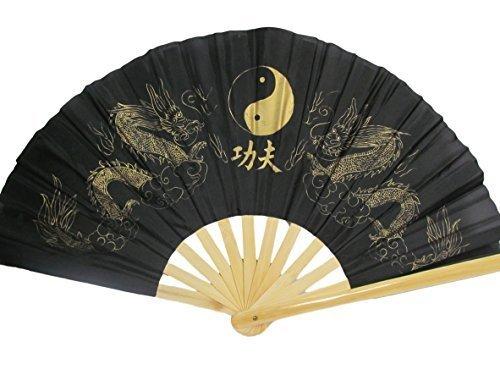 groß Ying-Yang Dragon schwarz oder rot Chinesisch Japanisch Orientalische Burleske Tanzende Kostüm Geisha Dekor Handfächer 13