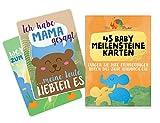 Baby Meilenstein Karten Deutsch - 45 milestone cards, um die Höhepunkte des 1. Jahres Ihres Babys festzuhalten – Perfekt als Geschenk für Babyparties, zur Geburt und als Willkommensgeschenk