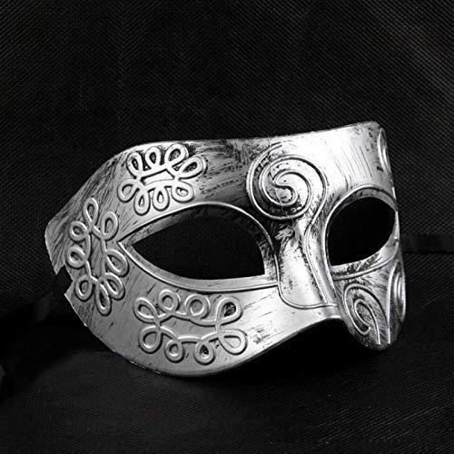 Venezianische Kostüm Bauta - YIDAINLINE Herren Maskenball-Maske Vintage griechisch römische Gladiator Maskerade Maske Vintage-Stil, venezianisch, griechisch, römisch, Party, Karneval(Silber)