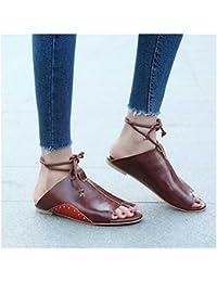 CXKS Sommer Sandalen Frauen Wohnungen Schuhe schnüren Ankle Strap, Braun, 10,5