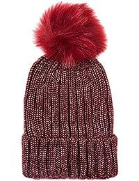 Accessoryo Unisex Metallic Burgundy Chunky Rib Knit Beanie with Red Pom Pom b08d932e3f40