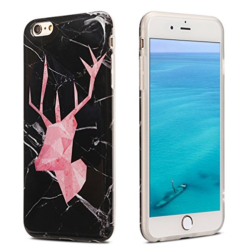 Coque iPhone 6 Plus , Etui Housse en Silicone Gel TPU de Protection Case Cover Souple Flexible Ultra Mince avec Feuilles et Flamingo motif Mode Dessin pour Apple iPhone 6 Plus (4.7 pouces) Enveloppe C Rouge Cerf et Noir