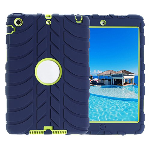 TKOOFN Ibrida Armatura Custodia in Silicone Forma di Battistrada Cover Protettivo per iPad mini 1 (Slittamento Forme)