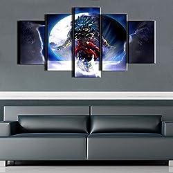 Premium calidad lienzo impreso de pared Art Póster 5piezas/5Panel Cuadros de bola de dragón de decoración de la pared pintura, decoración del hogar imágenes–con marco de madera