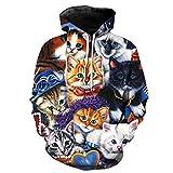 Frauen Männer Cute Kitten Cat gedruckt Hoodie lässiger Hooded Coat 3D-Hoodies 2402 L