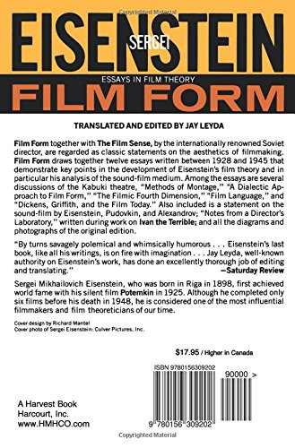 Film Form: Essays in Film Theory (Harvest Book)