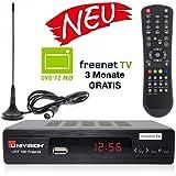 Univision UNT160 digitaler DVB-T2 Receiver mit Antenne inkl. 3 Monate Freenet TV (H.265, HDMI, SCART, USB, LAN) in schwarz